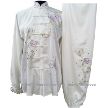 UC802 - White Uniform With Light Purple Flower Embroidery and White Jewel